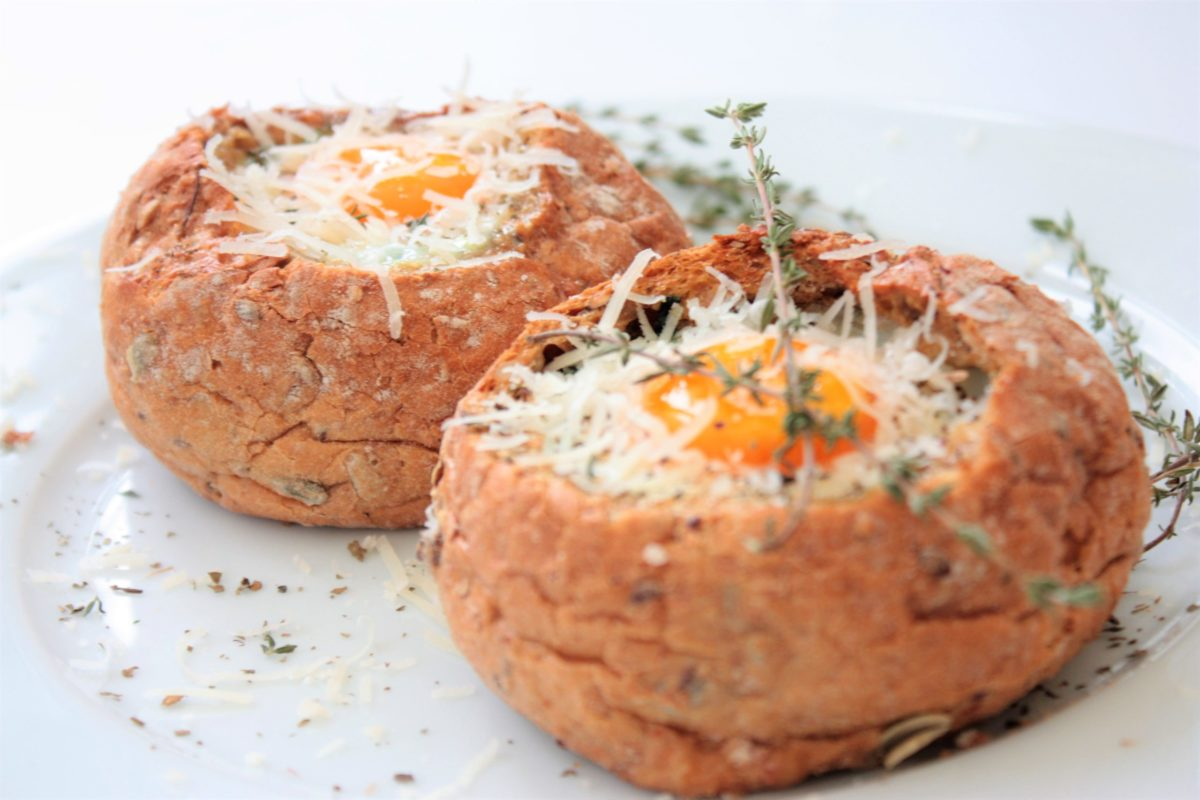 Baked Eggs in Bread Bowls with Asparagus