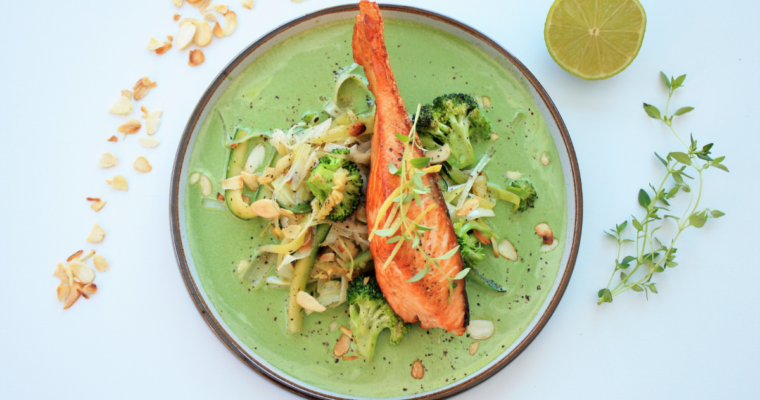 Salmon with Vegetables in a Spinach Sauce