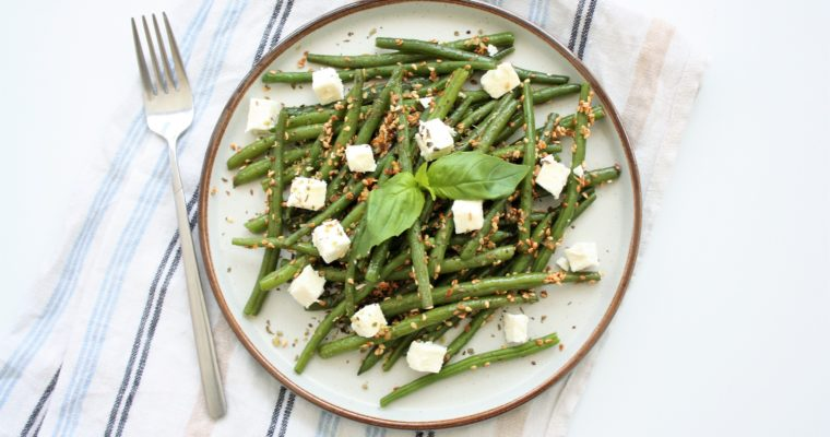 Green Beans with Feta Cheese and Sesame