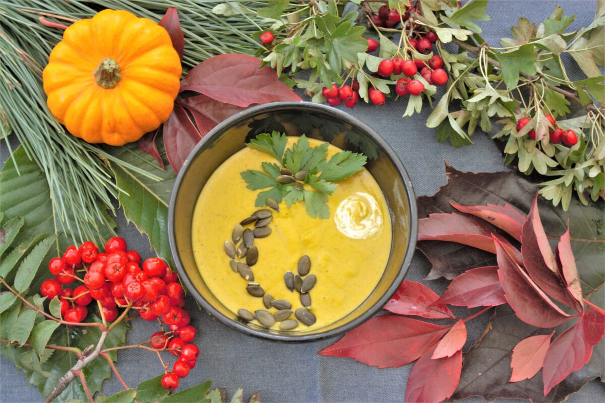 Pumpkin Cream Soup with Coconut Milk and Ginger