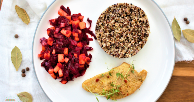 Marinated Roasted Turkey with Quinoa and Grated Beetroot